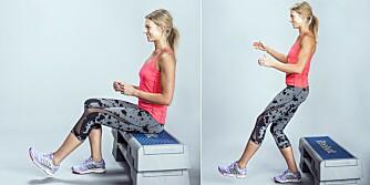 ETTBEINS KNEBØY PÅ STEP: Sett deg bak med rumpen på en step/stol, som gjerne er lavere enn knehasen.