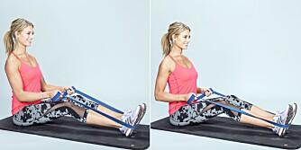 ROING MED STRIKK:Sitt med rak rygg og dra strikken bakover.