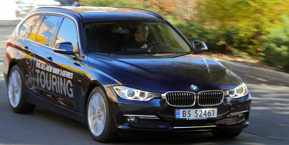 KAN UTSTYRES: BMW 3-serie kan leveres med adaptiv cruise kontroll med nødbremsfunksjon, filvarsler, blindsonevarsling, beltestrammere, automatisk lukking av vinduer og soltak, trafikkskiltgjenkjenning, nød- og assistansesystem, automatisk nedblending av hovedlys og aktive kurvelys. FOTO: Egil Nordlien, HM Foto