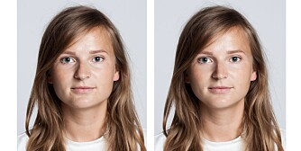 FØR OG ETTER: Til venstre: Slik så Martine ut før retusjeringen. Til høyre: Slik så hun ut etter. Dette ønsket hun å endre på: Nesa ble gjort smalere og rettere. Huden ble glattet og jevnet ut og «posene» under øynene fjernet. Overleppa ble fylt ut på høyre side. Kjeven og haka ble gjort smalere.