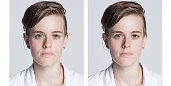 FØR OG ETTER: Til venstre: Slik så Ida ut før retusjeringen. Til høyre: Slik så hun ut etter. Dette ønsket hun å endre på: Nesetippen ble gjort smalere. Det ene øyet ble åpnet litt mer.