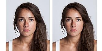 FØR OG ETTER: Til venstre: Slik så Linn ut før retusjeringen. Til høyre: Slik så hun ut etter.