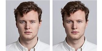 FØR OG ETTER: Til venstre: Slik så Torjus ut før retusjeringen. Til høyre: Slik så han ut etter.