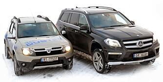 DAVID OG GOLIAT: I bruktbuilstatistikken får David - Dacia Duster - grundig juling av Goltiat i form av Mercedes GL. Av de nyeste bruktbilene er Mercedesen på topp, Duster på bunn. FOTO: Egil Nordlien, HM FOTO
