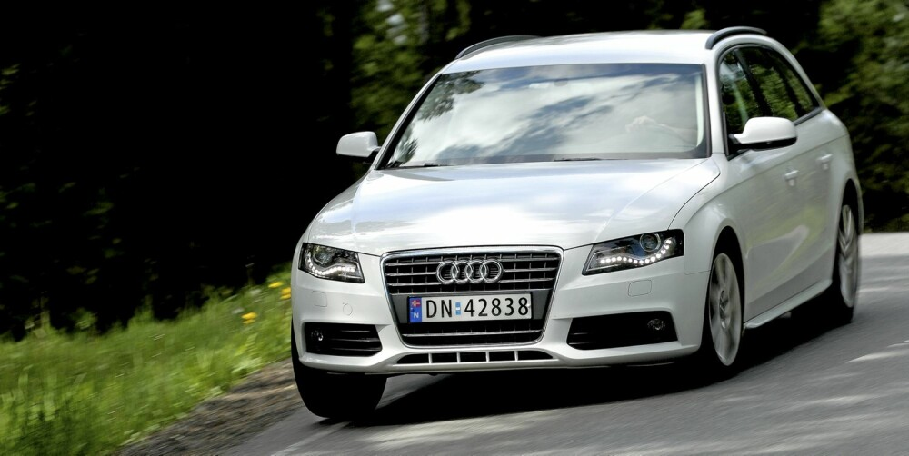 KJØRER GODT: Audi A4 er ikke langt bak kjøremesteren BMW 3-serie når det kommer til det sportslige.