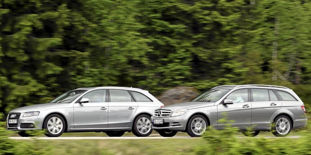 KONKURRENTER: Audi A4 (til venstre) er mer sportslig anlagt enn Mercedes C 200 CDI T.