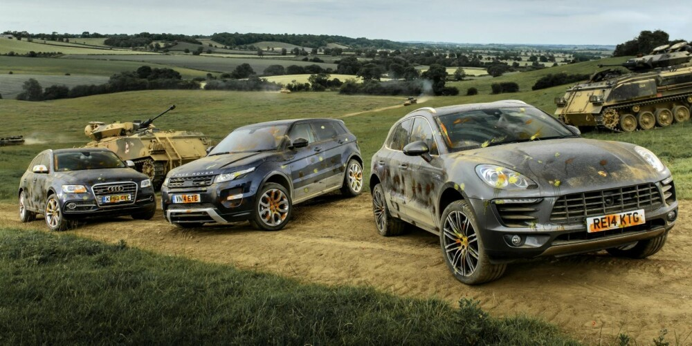 FELTØVELSE: Porshe Macan S Diesel, Range Rover Evoque SD4 og Audi SQ5 TDI