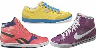 FRA VENSTRE: Reebok (kr 899), Simple Shoes (kr 700), Nike (kr 899).