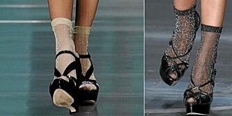 TRENDY: Denne våren er det veldig moteriktig med sokker i sandalene.