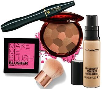SMINKEFAVORITTER: Lancôme Hypnôse Mascara, kr 249. Make Me Blush Blusher by H&M, kr 39. Guerlain solpudder, kr 450. Mac Pro Longwear Concealer, kr 170.