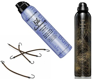 GODE HJELPERE: Hårstrikk med krok, kr 59 for 12 stk. Bumble and Bumble Dryspun Finish, kr 339. Oribe Dry Texturizing Spray, kr 360.