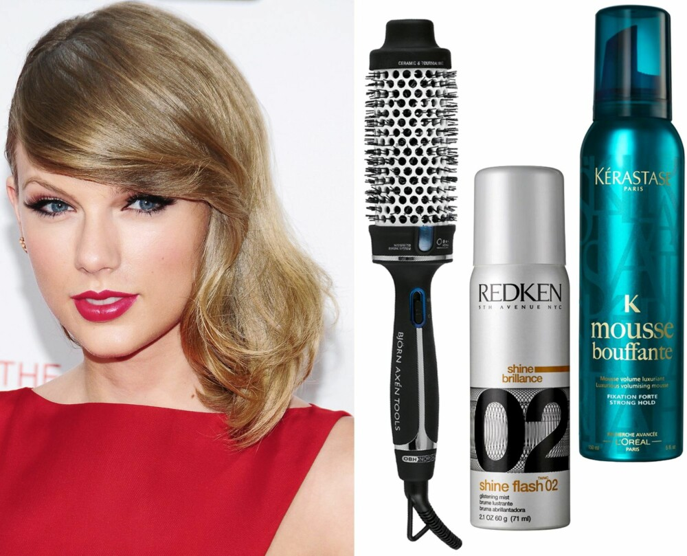 MYK SIDESKILL MED BØLGER: Bjørn Axén Tools Magic Style Brush, kr 699. Redken Shine Flash 02 Glistening Mist, kr 299. Kérastase Mousse Bouffante Luxurious Volumizing Mousse, kr 280.