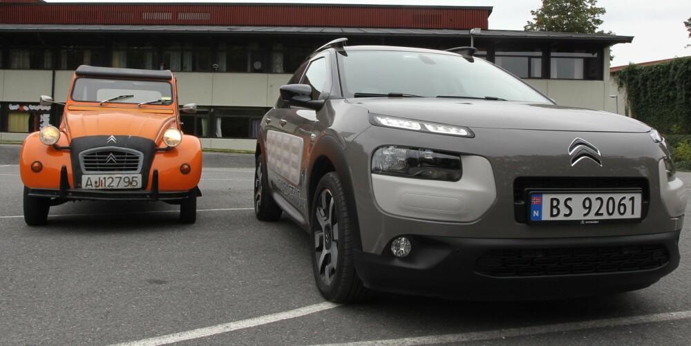 SARDINBOKS OG CACTUS: Prikk like er de ikke, men endelig har Citroën laget en bil med karakter igjen, en bil som reflekterer forhistorien av eksentriske og geniale biler. FOTO: Martin Jansen