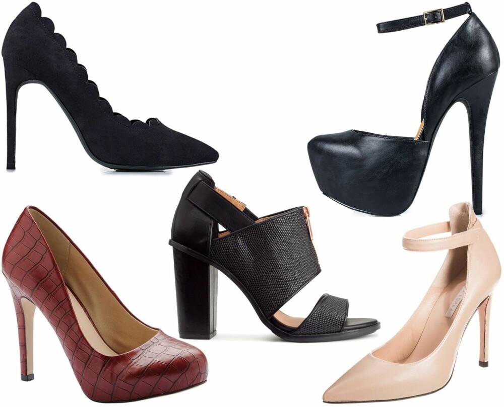 HØYE HÆLER: Fra venstre: NLY Shoes, kr 349. NLY Shoes, kr 399. H&M, kr 499. Bianco, kr 499. Pura Lopez, kr 1295.