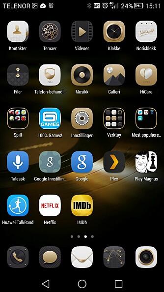STIL: Huawei vil tydeligvis at Ascend Mate7 skal gi et stilfullt inntrykk, og har laget egne gullikoner for de medfølgende appene.