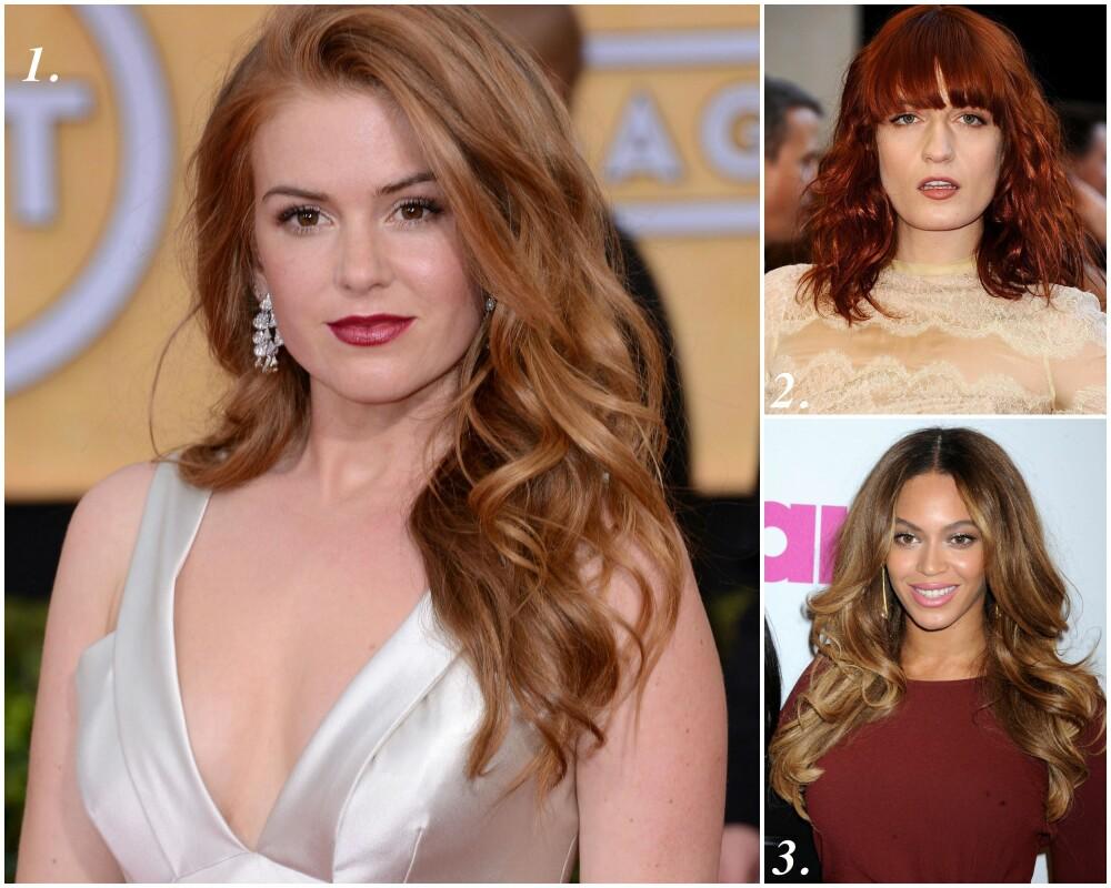 GYLLEN OG VARM: 1. Isla Ficher har en blanding av kald og varm hudtone (rød undertone), varme øyne (hasselnøttbrune/grønn) og en gyllen rødtone på håret, 2. Florence Welch har en gyllen hudtone (gul undertone), kjølige og grønne øyne og en kald rødtone på håret, 3. Beyoncé har en varm hudtone (gul undertone), varme øyne med rødspekk i bruntonen og en gyllen karamellbrun manke.