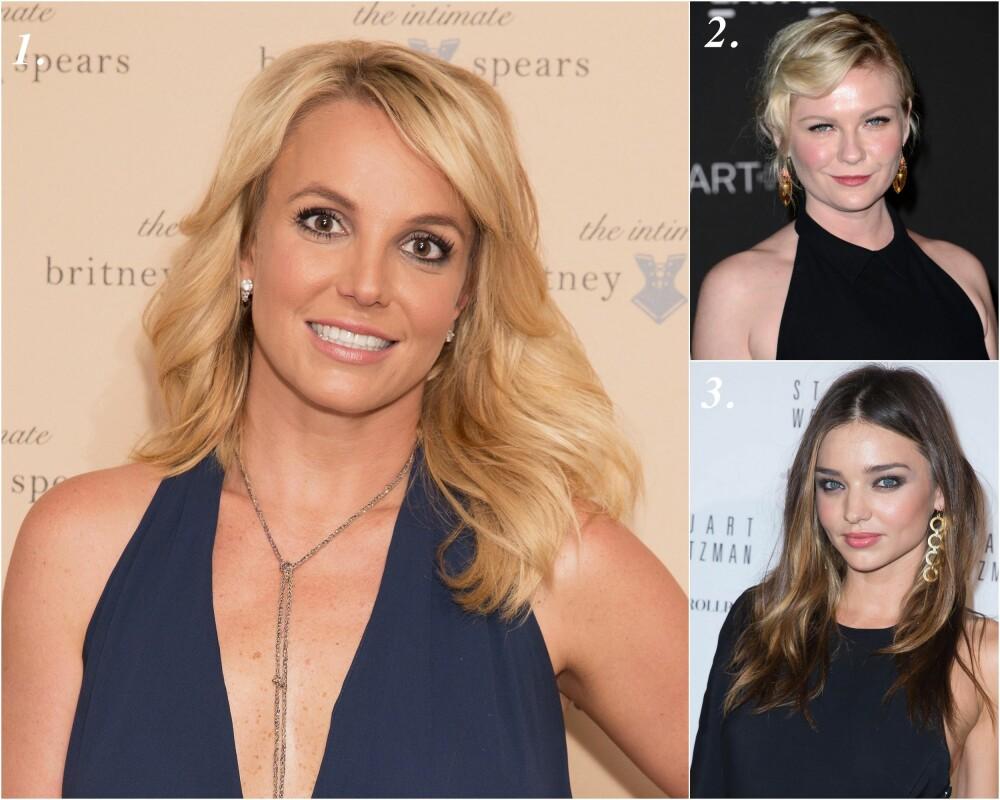 BLONDINER OG BRUNETTER: 1. Britney Spears passer til en hel-varm look med gyllen hud (gul undertone), brune øyne med gulspekk og et hint av grønt, 2. Kirsten Dunst har kalde øyne og en kald hudtone med mye rosa (rosa undertone i tillegg), som blir ekstra rødlig med det gyldne skjæret i håret, 3. Miranda Kerr har en varm hudtone (gul undertone), kalde blå øyne og en blanding av varme og kalde farger i det brune håret.