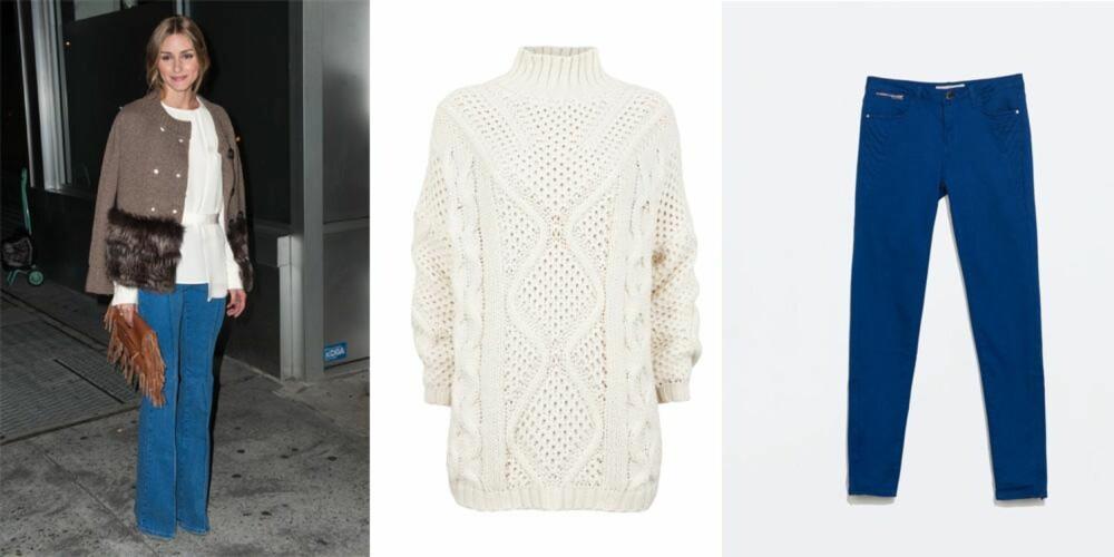 STJEL STILEN: Olivia Palermo kan kunsten å kombinere billig og dyrt. Genser fra HM, kr 299 kostet egentlig 499. Bukse fra Zara, kr 199 kostet egentlig 399.