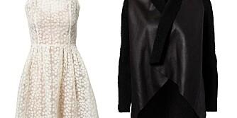 HALV PRIS: Fra venstre: Kjole fra FWSS til 1197 kroner kostet opprinnelig 2399. Drapert Teddy-jakke fra det Nelly-eide merket Notion 1.3, har i dag en prislapp på 179 kroner. Det er en prisjustering på 420 kroner. Jakken fra H&M er på salg og koster i dag 299 kroner.