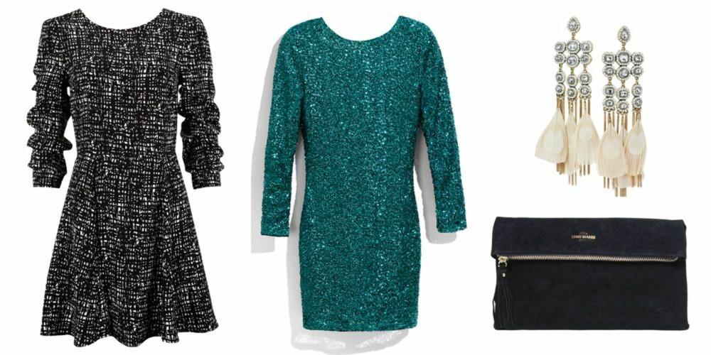 STJEL STILEN: Fra venstre: mønstrete kjole fra Bik Bok, kr 199. Paljettkjole fra H&M, kr 299. Øredobber fra H&M, kr 199. Veske fra Becksöndergaard, kr 299.