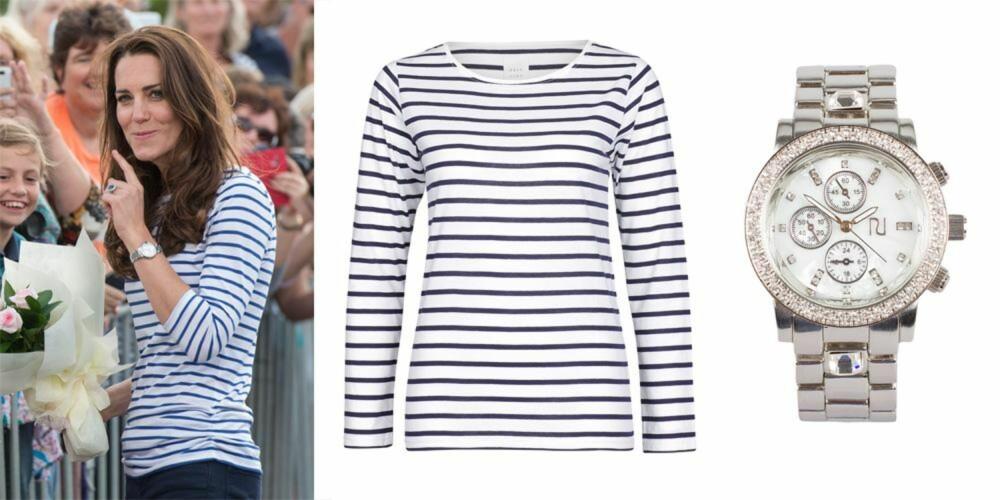 TIKK TAKK: Kate har klassisk og elegant stil. Fra venstre: Genser fra Vivikes, kr 199. Klokke fra River Island/Nelly.com, kr 349.