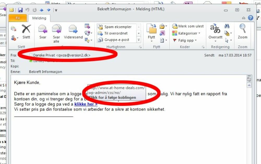 SVINDEL: Nei, du får ikke e-post fra banken din og de spør deg aldri om personlig informasjon som kontonummer eller pinkode.