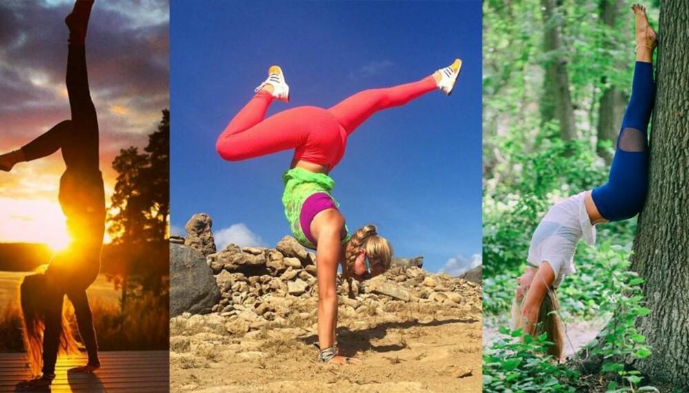 HÅNDSTÅENDE: Den verdenskjente yogainstruktøren Rachel Brathen (25) fra Sverige er lærermester og yoga-popstjerne. Nå lærer hun deg hvordan du kan stå på hendene.