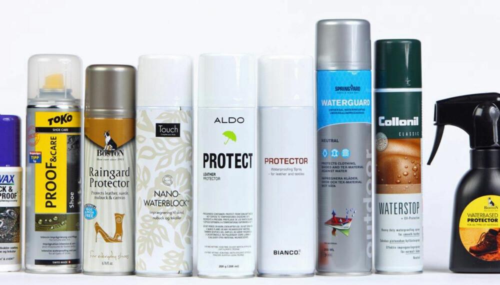 IMPREGNERING: Vi sprayet to ulike typer skinn for å se hvilken impregnering som er best.