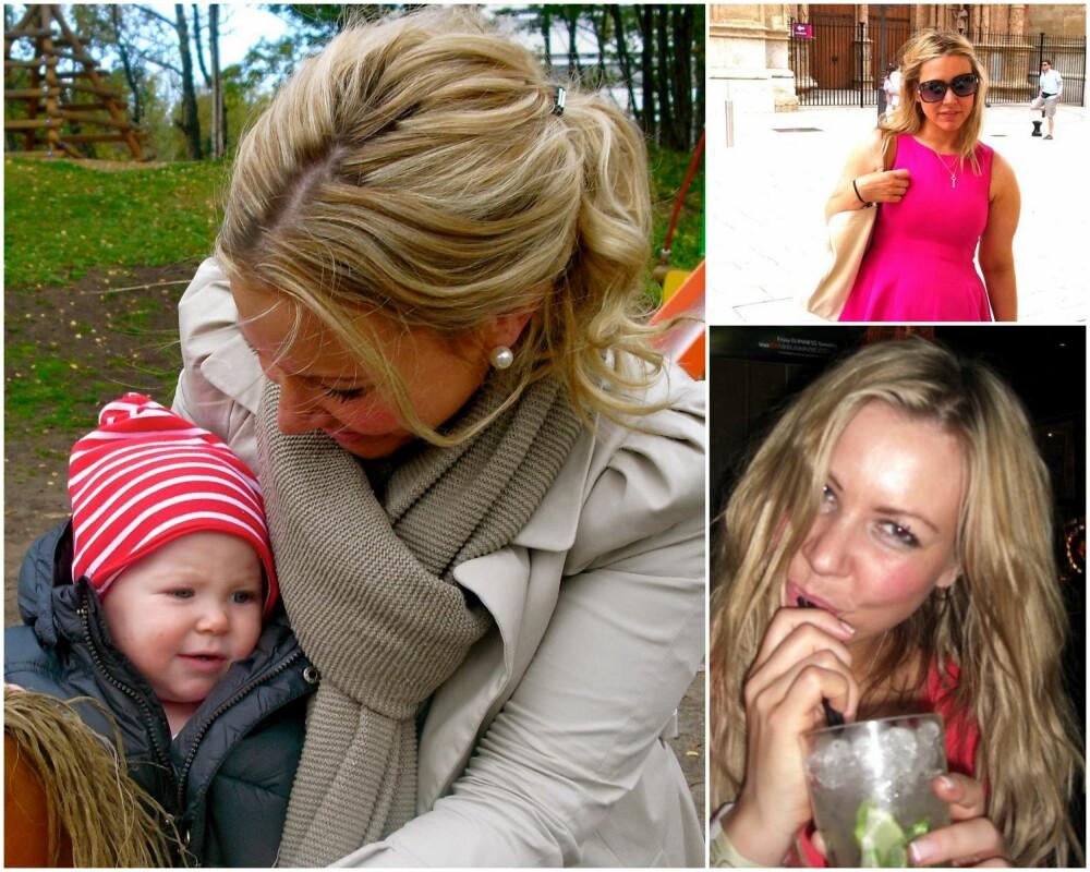 I TYKT OG TYNT: Frilansjournalist for Klikk.no, Trine Jensen (34), hadde et naturlig tykt hår (bildet nederst til høyre), men mistet mye av tykkelsen (bildet øverst til høyre) da hun testet hårextensions i forbindelse med en sak hun skrev for et irsk bryllupsmagasin. Heldigvis vokste håret seg både tykt og fint igjen, da hun ble gravid et par år senere (bildet til venstre).