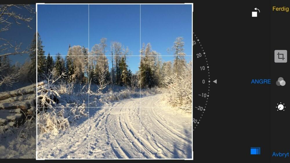 BESKJÆR: Unngå å bruke kvadratfunksjonen i fotoappen. Det er bedre å beskjære bildet i etterkant.