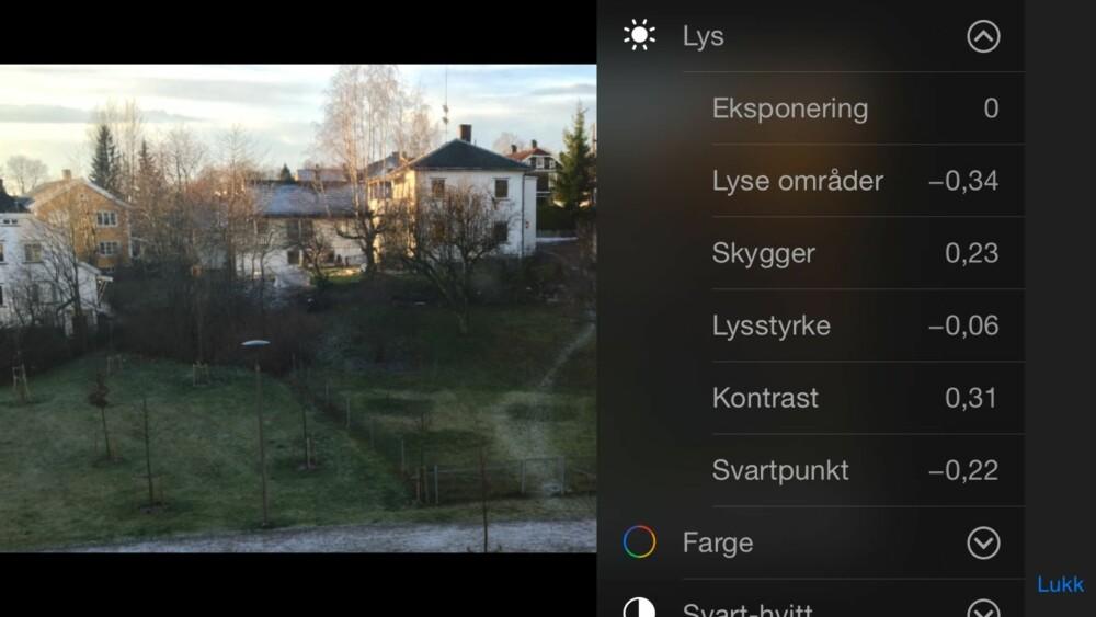 JUSTERING: Du kan justere lys, farge og svart-hvitt i Bilder-appen.
