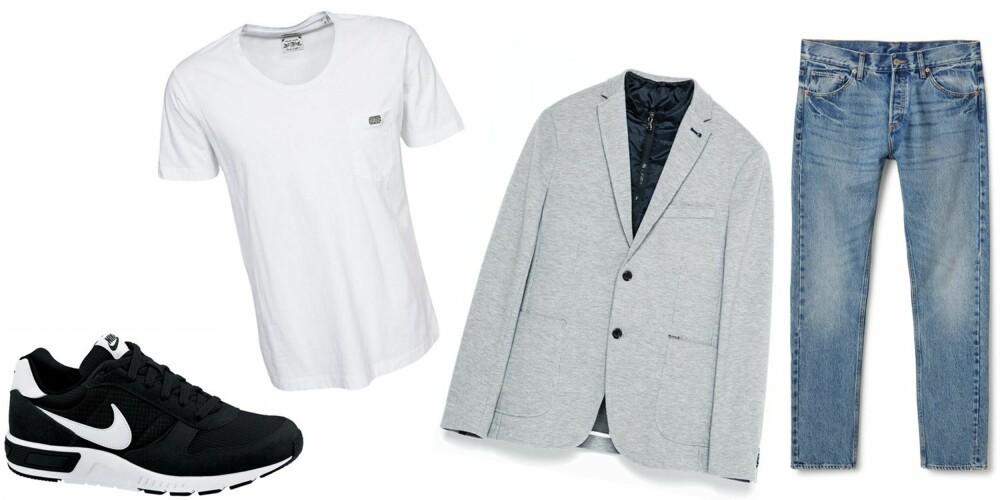 CASUAL COOL: Med et par jeans, en hvit T-skjorte, blazer og sneakers får du et passe avslappet og pyntet antrekk.