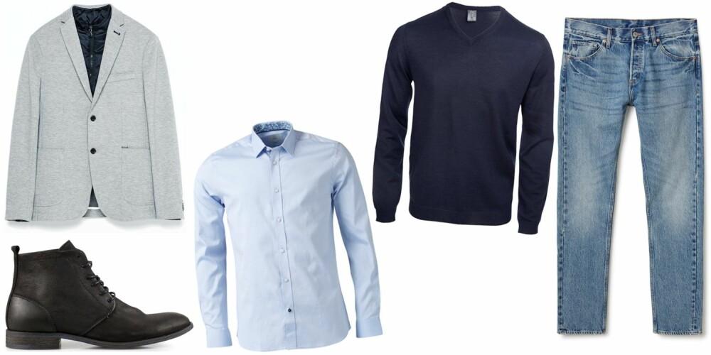 RELAX OG COOL: Et par smale jeans, en skjorte og genser - og en blazer over det hele gir et kult og avslappa antrekk.
