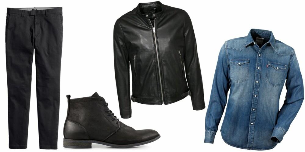 MIX IT UP: En denimskjorte og en skinnjakke er passe avslappa og rocka, mens et par chinos og boots er passe pynta - sammen blir det er passe pynta og avslappa antrekk.