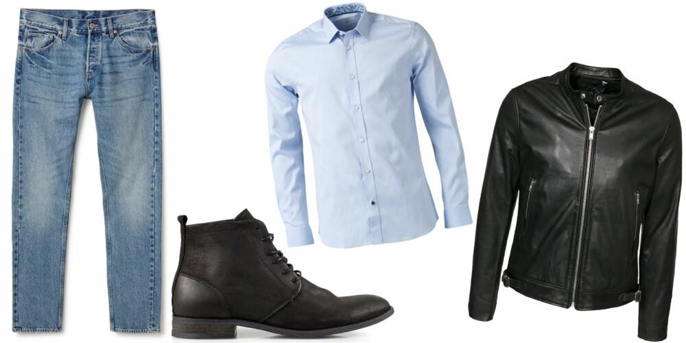 PÅ DATE: Med et par jeans, sneakers, en lys skjorte og en skinnjakke får du et kult antrekk som definitivt vil imponere på date!