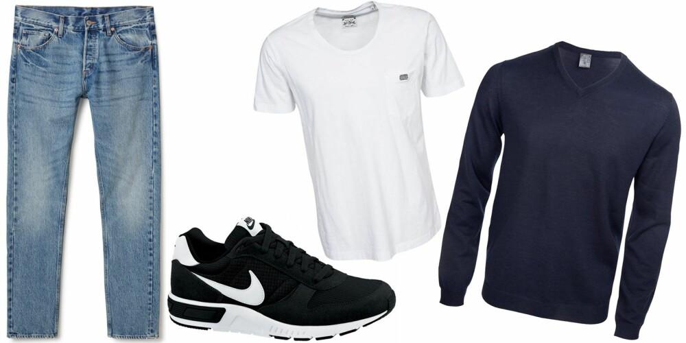 SØNDAGSSLAPP: En jeans, sneakers, en T-skjorte og genser er et passe avslappa antrekk som passer perfekt til dagen derpå.
