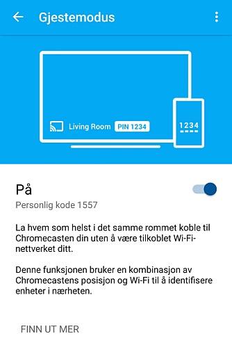 GJEST: Med gjestemodusen på Chromecast vil du kunne la besøkende bruke Chromecasten din uten å gi tilgang til det trådløse nettet ditt.