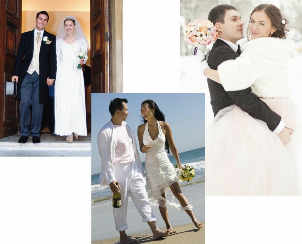 ULIKE BRYLLUP: Skal dere ha et klassisk kirkebryllup, strandbryllup i utlandet eller et vakkert vinterbryllup? Husk at kjolen skal passe til anledningen!