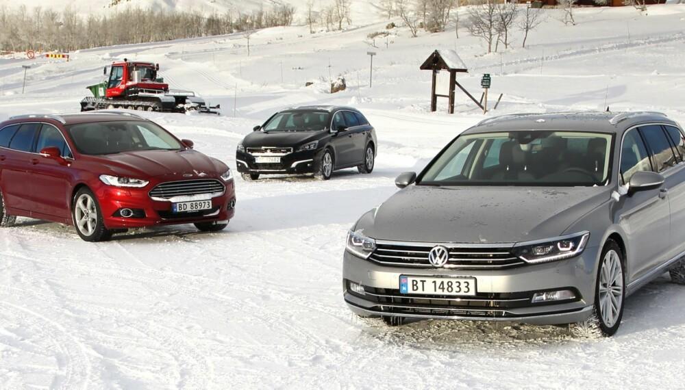 BILTEST: Vi har sammenlignet Ford Mondeo, Peugeot 508 og VW Passat - alle stasjonsvogner. FOTO: Petter Handeland