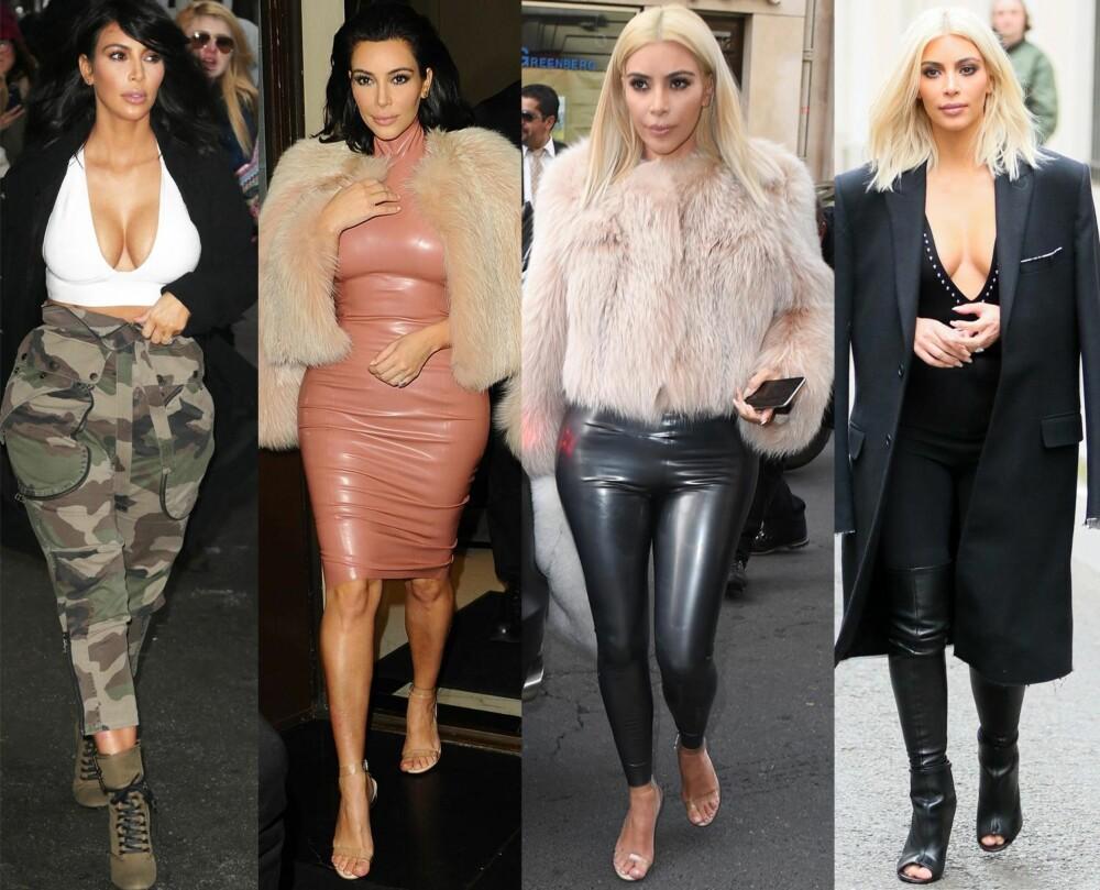 """2015:  I dag omtales Kim Kardashian som """"et moderne stilikon"""", og troner ofte høyt på diverse best kledde-lister. - Hun tør å fremheve de flotte kvinnelige formene sine, og det er fin balanse i antrekkene. Når hun velger bar mage, er dette i kombinasjon med høy hals. Dype utringninger balanseres med lange skjørt eller bukser. Hun har også funnet en skjørtelengde som kler henne godt, sier stylist Line Langmo. FOTO: Stella Pictures"""