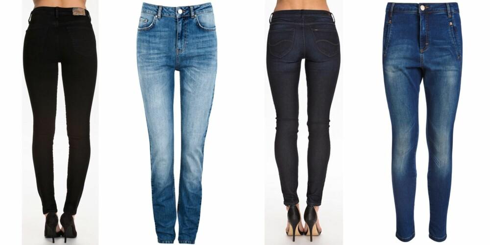 FRA VENSTRE: Denim & Supply Ralph Lauren High Rise Skinny, kr 995. Bik Bok High Mari, kr 599. Lee Scarlett Velvet Blue, kr 799. Fiveunits Jolie, kr 899.