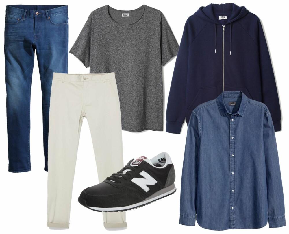 STILENS NØKKELPLAGG: Fra venstre: Jeans fra H&M, kr 399. Hvite chinos fra Zara, kr 399. Grå T-skjorte fra Weekday, kr 169. Blå hettegenser fra Weekday, kr 349. Sko fra New Balance, kr 849. Jeansskjorte fra H&M, kr 299.