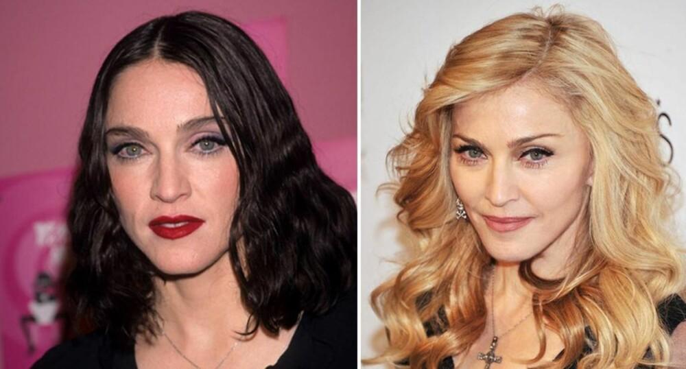 FOR MØRKT: Madonna ser yngre ut på bildet til høyre - selv om hun faktisk er yngst på bildet til venstre.