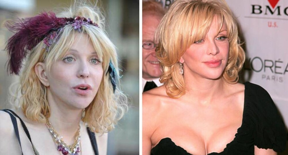 FLISETE TUPPER: Flisete tupper og bustete hår ser ikke bra ut. Ingen tvil om at Courtney Love ser bedre, og yngre, ut på bildet til høyre.