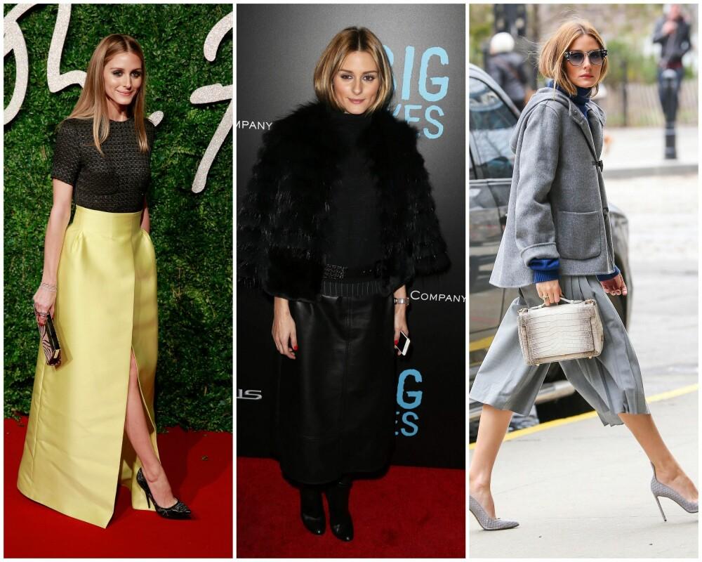 FÅ INN FARGEN: Stilikonet Olivia Palermo er vanligvis svært glad i sterke farger som på bildet til venstre. Og fint er det; antrekkene i helsvart og dystre, grå toner gjør veldig lite for henne.