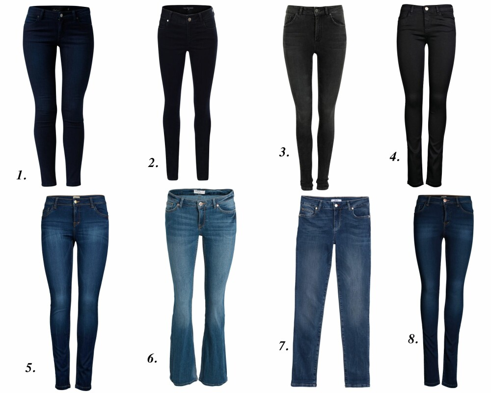 MØRKE JEANS: 1. Mørkeblå Jeans fra MQ (kr 499), 2. Sorte Jeans fra V-Collection (kr 1199), 3. Higher Honey Jeans fra Never Denim (kr 599), 4. Skinny Jeans fra Vero Moda (kr 399,95), 5. Skinny Jeans fra Vero Moda (kr 399,95), 6. Bootcut Jeans fra Lindex (kr 349), 7. Liu Jo Jeans (kr 1399), 8. Skinny Jeans fra Vero Moda (kr 399,95).