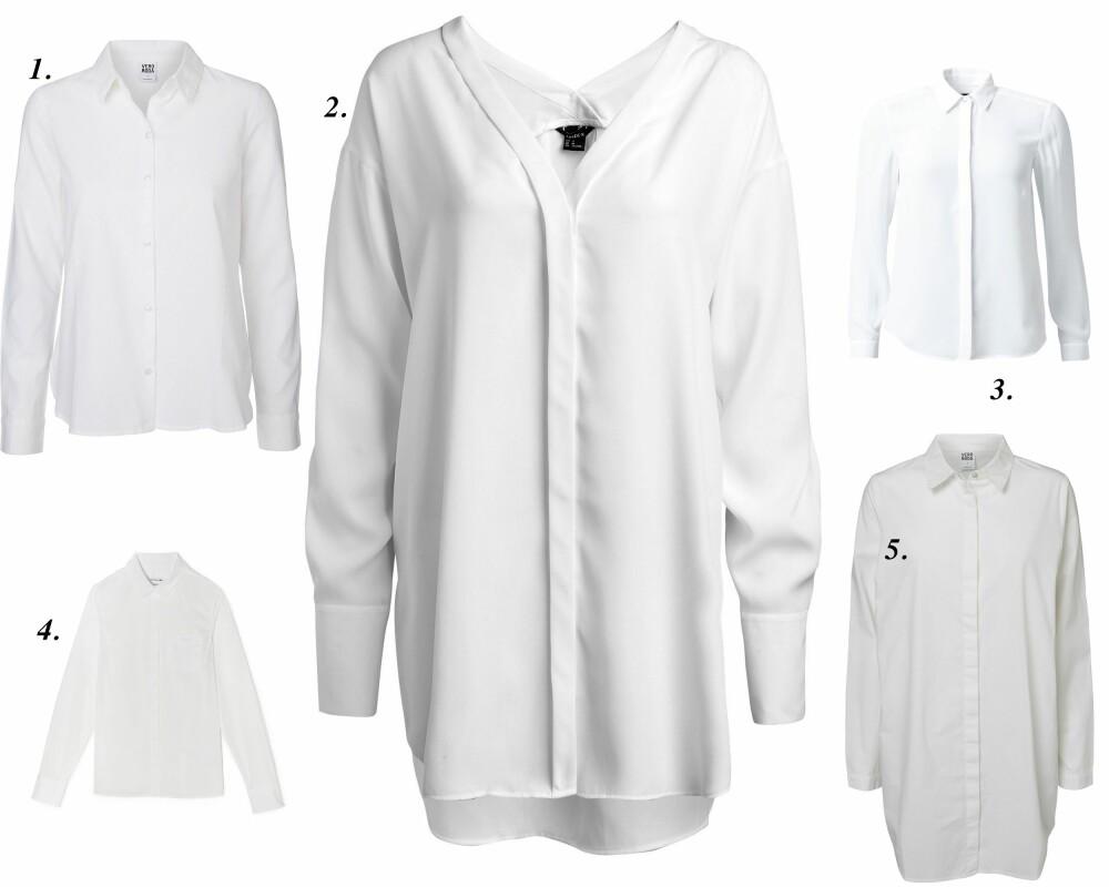 HVIT SKJORTE: 1. Skjorte fra Vero Moda (kr 249,95), 2. Bluse fra Lindex (kr 299), 3. Skjorte fra MQ (kr 399), 4. Chemise Shirt fra Lacoste (kr 1195), 5. Oversized skjorte fra Vero Moda (kr 299,95).