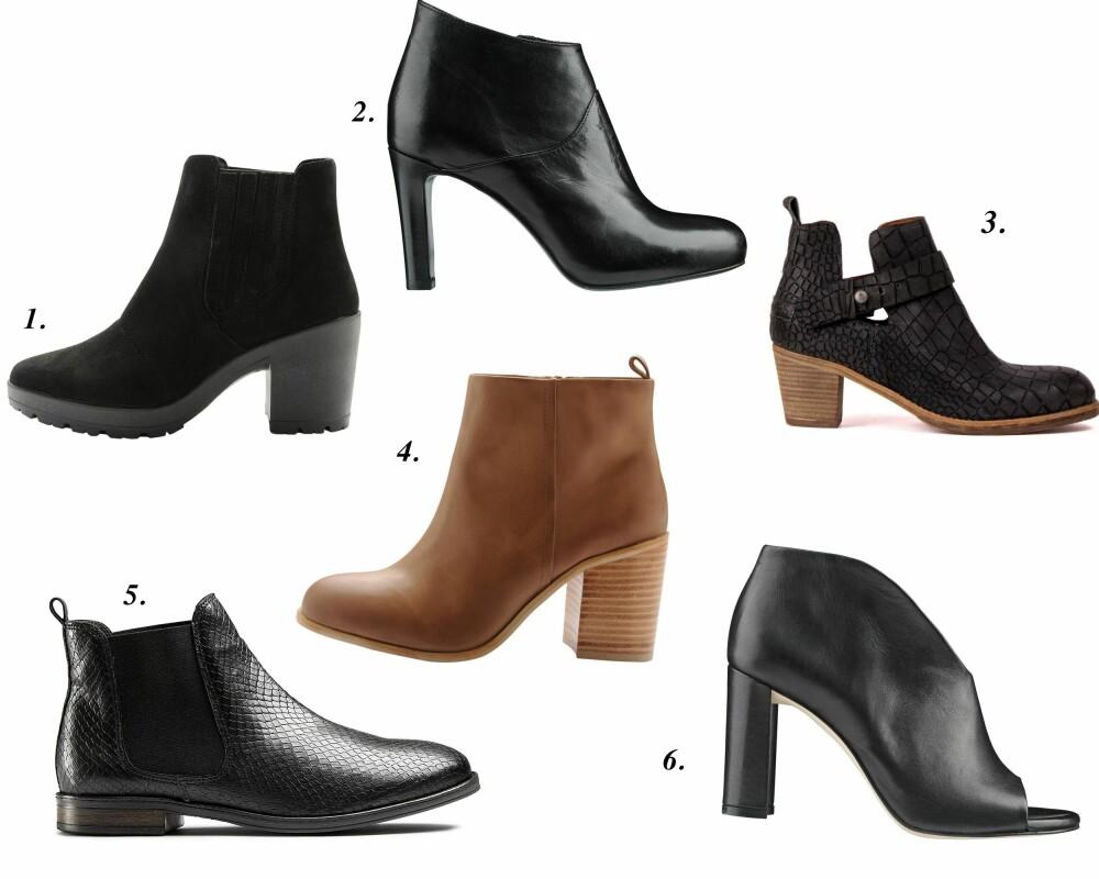 ANKELBOOTS: 1. Ankelboots fra Bianco (kr 699), Ankelstiletto fra Apair Shoe (kr 2999), 3. Cut-out Ankelboots bra Shabbie Shoes (kr 1999), 4. Ankelboots fra Bianco (kr 1199), 5. Lave Ankelboots fra DNA (kr 999), 6. Åpen Ankelboots fra Apair Shie (kr 2199).