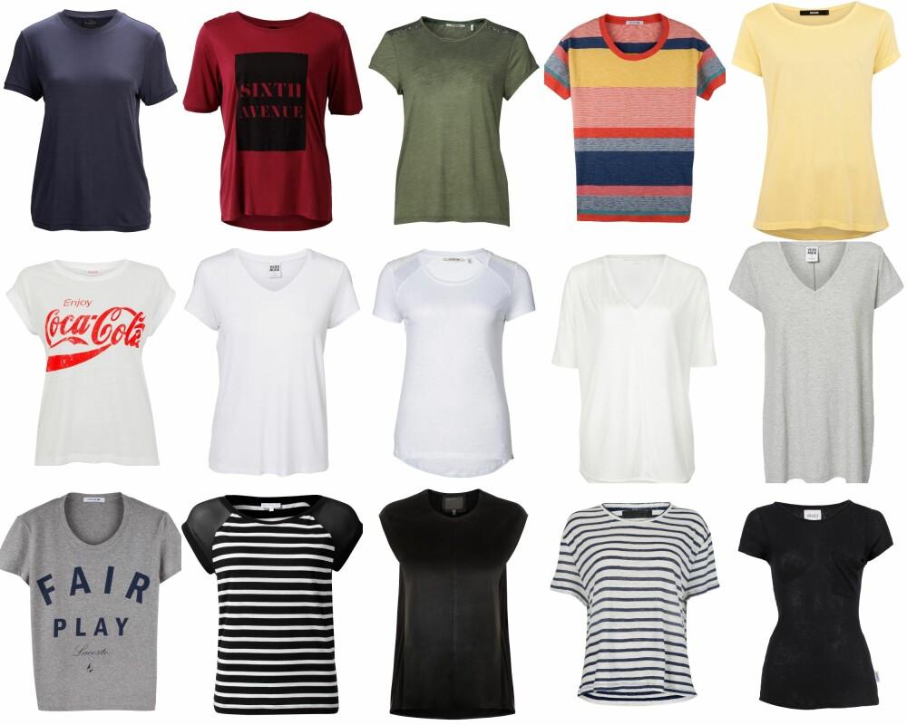 T-SKJORTE: Første rad fra venstre: Selected Femme (kr 499,95), MQ (kr 199), Rich & Royal (649), Lacoste (899), Bik Bok (kr 149). Andre rad fra venstre: Bik Bok (kr 249), Vero Moda (kr 149,95), Royal & Rich (kr 649), Vivikes (kr 199), Vero Moda (kr 195,95). Tredje rad fra venstre: Lacoste (kr 699), MQ (kr 299), Muubaa (kr 1300), Never Denim (kr 299), Elle & il (kr 699).