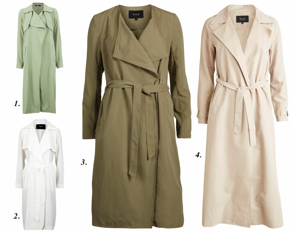 TRENCHCOAT: 1. Tracy Coat fra Bik Bok (kr 499), 2. Tracy Jacket fra Bik Bok (kr 599), 3./4. Trench fra Vila (kr 499,95).